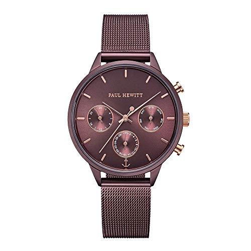 PAUL HEWITT Armbanduhr Damen Everpuls Dark Mauve Mesh - Damen Uhr in Dark Mauve mit einem abgestimmten Meshband aus Edelstahl und einem moccafarbenen Ziffernblatt