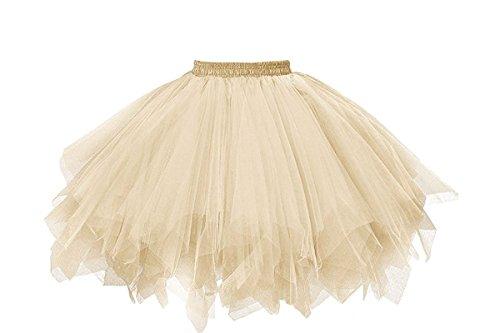 MuseverBrand 50er Vintage Ballet Blase Firt Tulle Petticoat Puffy Tutu Champagne Small/Medium
