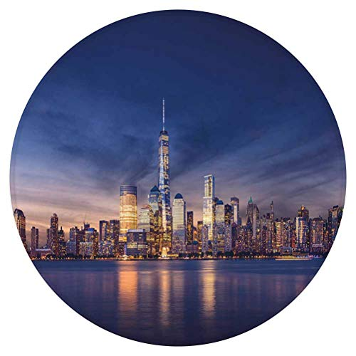 City Round Area Rug,New York Skyline Manhattan After Sunset Metropolis Downtown Urban Panorama USA,for Living Room Bedroom Dining Room,Round 3'x 3',Navy Blue Peach