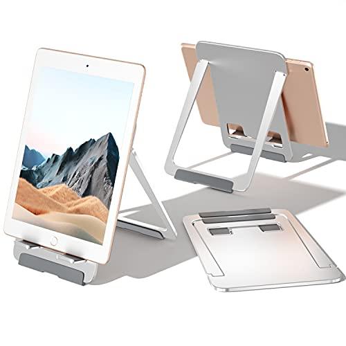NIUQIGE Soporte para tableta, Soporte de aluminio, Soporte de escritorio plegable Soporte para teléfono celular Compatible con Pad Air 3 / Pro / Mini, Media Pad, Surface Pro 7, Samsung Tab y Kindle