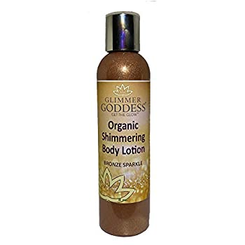 Organic Bronze Body Shimmer Lotion – Shimmer & Sparkle For All Skin Types – Chemical Free Shimmering Moisturizer by Glimmer Goddess