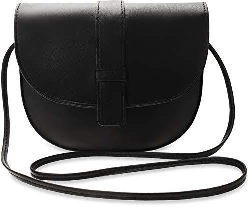 klassische halbrunde Damen Tasche mit Klappe Retro Style schwarz
