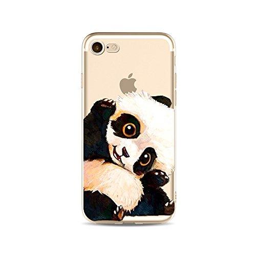iPhone 6S Hülle Panda, iPhone 6 HandyHülle Silikon Niedlich Panda Tier Muster Slim Gel TPU Transparent Schutzhülle für 4.7