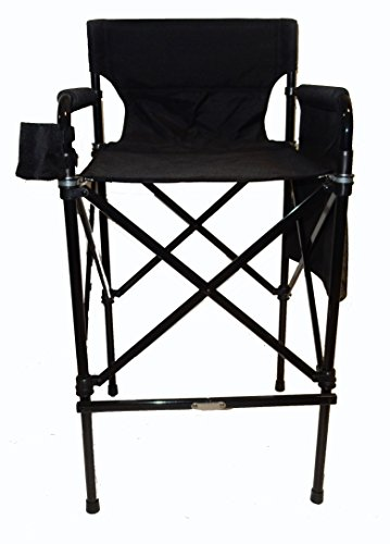 TuscanyPro Houdini Tall Director Chair - Quad Style, Super Compact Telescopic Folding Design with Jet Black, Anodized Aluminum Frame - Your Name/Logo Imprinted