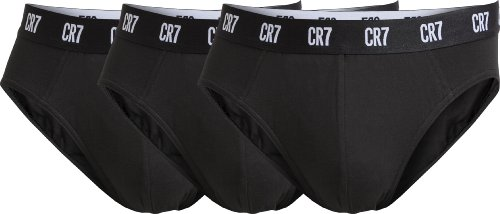CR7 CRISTIANO RONALDO Herren Slip Unterhose Basic Brief 3-Pack Retroshorts, Black, M