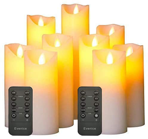 Flameless Candles LED Candles Flickering Battery Operated Flickering Light Pillar Real Smooth Wax with Timer and 10-Key Remote for Wedding(Set of 9)