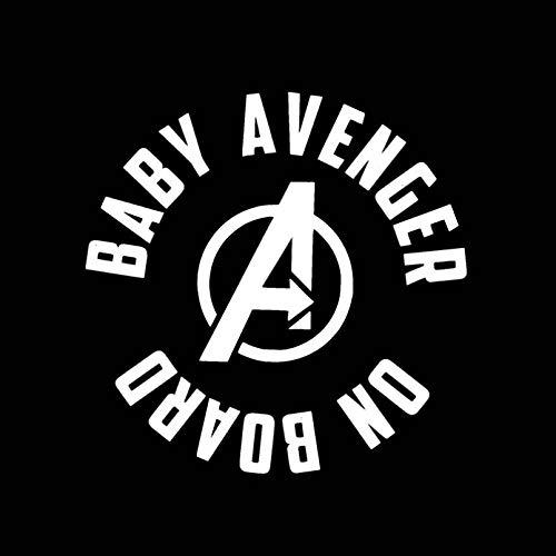 JKGHK Auto-Aufkleber mit Aufschrift 'Baby Avengers on Board', lustig, Vinyl, 13,1 x 13 cm, Schwarz / silberfarben