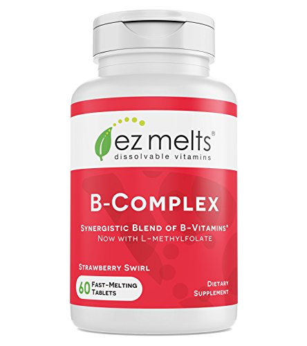 EZ Melts B-Complex with Methylcobalamin and Methylfolate, Immune Support, Sublingual Vitamins, Vegan, Zero Sugar, Natural Strawberry Flavor, 60 Fast Dissolve Tablets