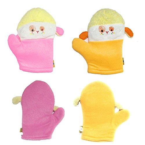 EIO Soft Baby Bath Cartoon Sponges Glove Shower Mitten (Assorted Colour)- Pack of 2