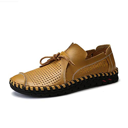 iwzmiapal Men Driving Shoes Handmade Quality Men Loafer Shoes Flats Big Size 38-50 Moccasins Yellow 11 M US