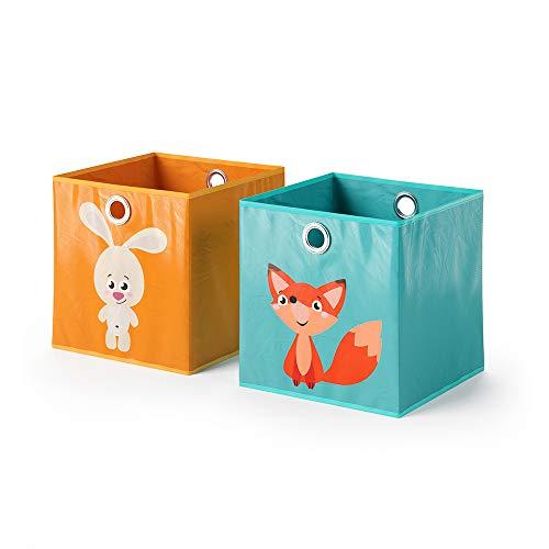 Vicco 2er Set Faltbox 30x30 cm Kinder Faltkiste Aufbewahrungsbox Regalkorb (Hase + Katze/Nilpferd + Fuchs)