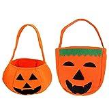 YEFAF Halloween Kürbis Candy Bags, 2 Stück Süßigkeiten Tasche Kürbis Tasche für Halloween Night (Stil A)