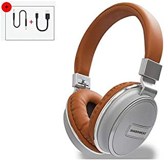 Bluetooth Noise Canceling Headphones, Wireless Headset Over Ear with Microphone, Travel Collapsible & Rechargeable Battery, Soft Protein Earpads, for PC/Cell Phones/TV,Brown