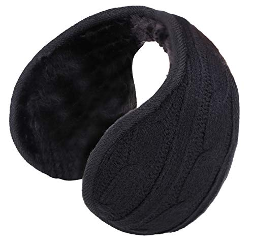 Womens Earmuffs Sherpa Fleece Lined Winter Outdoor Knit Ear Warmer,Black