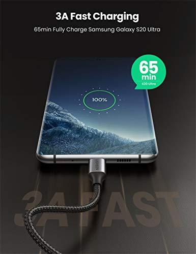 UGREEN USB C auf USB C Kabel 60W Winkelstecker 90 Grad Power Delivery USB C zu USB C Kabel 3A/20V kompatibel mit Galaxy S20, A71, Note20, Mi 10T, iPad Air 2020, iPad Pro 2020, XPS 13 usw. (2M)