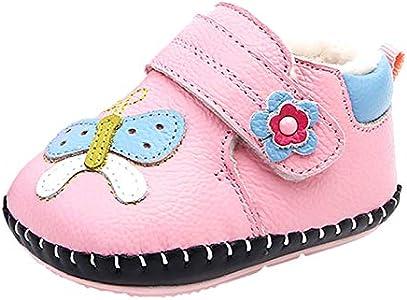 EOZY Zapatos Bebé Niñas Primeros Pasos Suela Antideslizante Patucos Cuero de PU Térmico Invierno Rosa 9-12 Meses