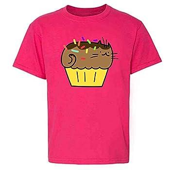 Cupcake Cartoon Funny Cat Meme Pink XS Youth Kids Girl Boy T-Shirt