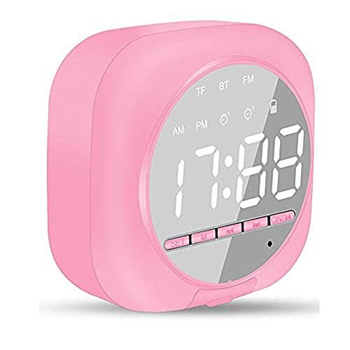 Reloj Despertador Digital con Altavoz Bluetooth Inteligente, Altavoz Inalámbrico Portátil, Reloj Despertador Dual, Radio FM, Pantalla LED, Micrófono Incorporado, Brillo Ajustable (Rosado)