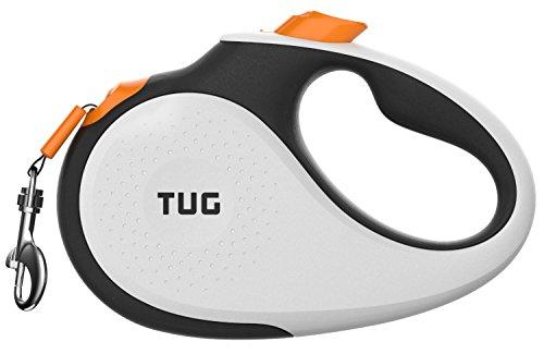 TUG 360° trasselfritt, slitstarkt indragbart hundkoppel med halkfritt handtag; 4,9 m starkt nylonband/band; enhandsbroms, paus, lås (medium, vit/orange)