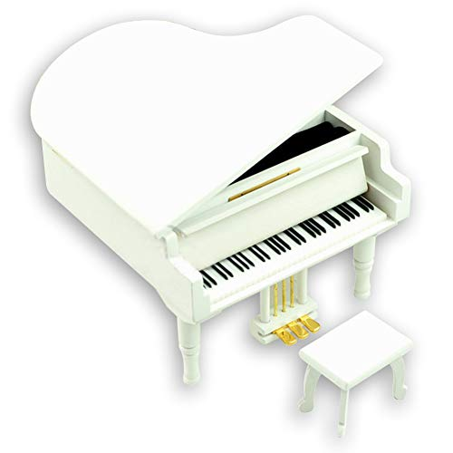 Bankour Wooden White Grand Piano Music Box with Sankyo Musical Movement (50 Tunes Option) (You are My Sunshine)