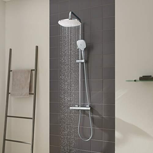 CECIPA Duschsystem mit Thermostat Mischer, Duscharmatur Thermostat mit Regendusche und Handbrause, Anti-Verbrühungs-Duschsystem