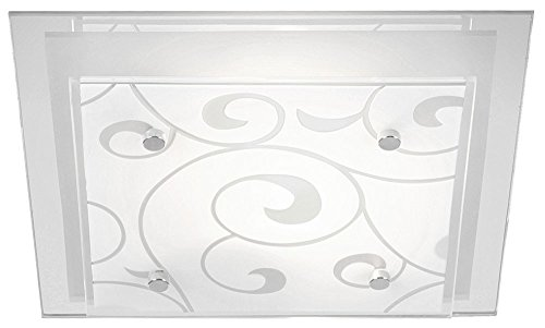 Globo Deckenleuchte Metall weiß Glas satiniert mit Dekor 48062-2 LxBxH:335x335x80, exklusiv 2 x E27 ILLU 60 W