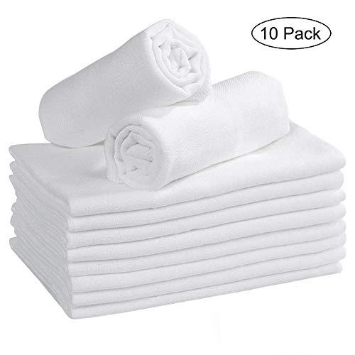 Mullwindeln Spucktücher Mulltücher 10er Stoffwindeln Saugstark Baumwolle Faltwindeln Musselin für Baby Weiß 35 x50cm Kochfest Premium Qualität YOOFOSS