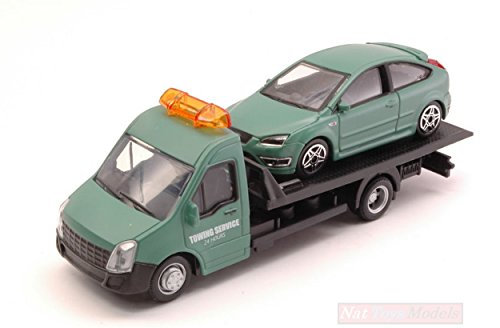 Burago BU31404 Ford Focus ST + Flatbed Transporter 1:43 MODELLINO Die Cast Model Compatible con