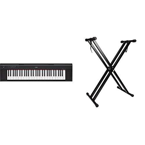 Yamaha Keyboard Piaggero NP-12B, schwarz – Leichtes und transportfreundliches Keyboard & RockJam doppelstrebig Keyboardständer verstellbar 29cm bis 91cm mit Riemen, um Tastatur Klavier Verriegelungs