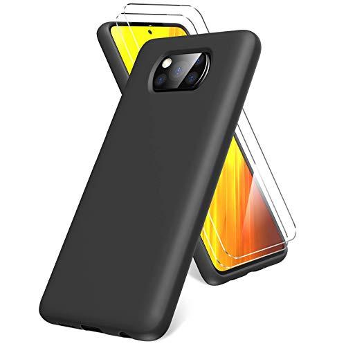 Oududianzi Cover per Xiaomi Poco X3 PRO/Poco X3 NFC,Pellicola Protettiva in Vetro Temperato, Silicone Liquida Case Molle di TPU, Gomma Gel di Silicone Liquida Antiurto Custodia -Nero