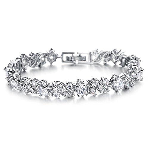 Kim Johanson Damen Tennis Armband *Wave* in Silber mit weißen Kristallen besetzt rhodiniert inkl. Schmuckbeutel