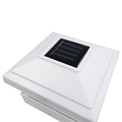 iGlow 8 Pack White Outdoor Garden 5 x 5 Solar LED Post Deck Cap Square Fence Light Landscape Lamp Lawn PVC Vinyl Wood