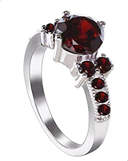Women's ring with red zircon size 9