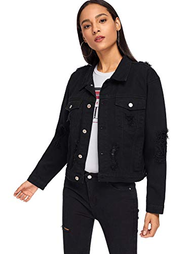 Floerns Women's Ripped Distressed Casual Long Sleeve Denim Jacket Black M