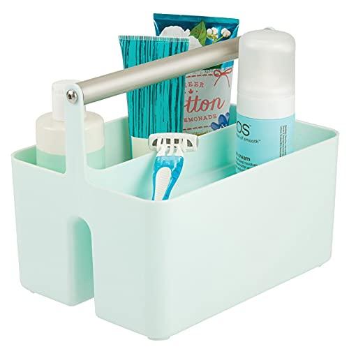 mDesign Caja organizadora para cuarto de baño – Cesta con asa para el almacenamiento de productos cosméticos – Organizador de baño con 2 compartimentos – verde menta y plateado mate