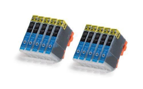 10x Cyan XL Druckerpatronen zu Canon CLI-8C für Canon PIXMA MP500 510 520 530 600 600R 610 800 800R 810 830 960 970 MX700 MX850 iP3300 4200 4200X 4300 4500 4500X 5200 5200R 5300 6600 6600D