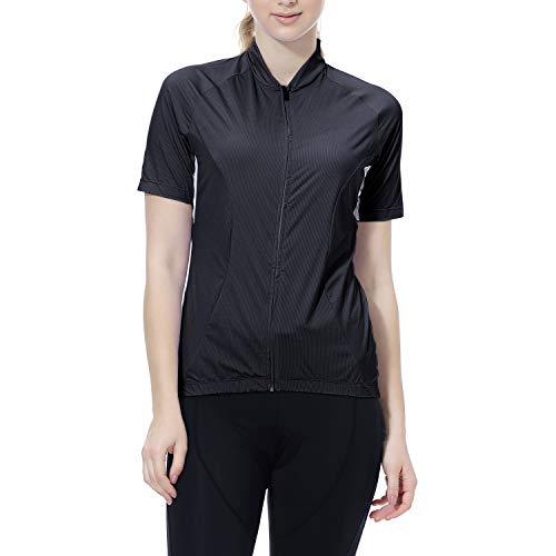 Cycling Jersey Women's Short Sleeve Bike Biking Shirts Full Zip Bicycle Tops Cycling Clothes with 3 Pockets(Black,M)
