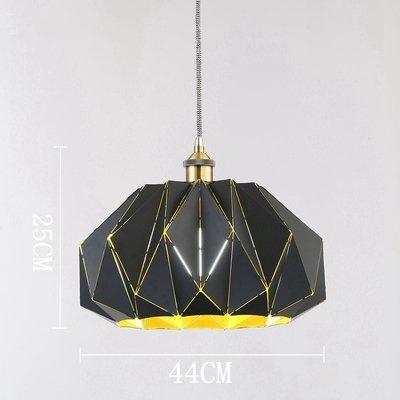 Luckyfree eenvoudige, moderne strijkijzeren geometrische kunst hanglamp kamer bar café restaurant keuken hal lampen plafondlamp kroonluchter, buiten zwart goud 25 cm * 44 cm + 12-W lamp