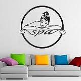 HGFDHG Logotipo de SPA calcomanías de Pared Mujer Tratamiento de Terapia de Masaje Cuidado de la Piel salón de Belleza decoración de Interiores Puertas y Ventanas Pegatinas de Vinilo murales de Arte