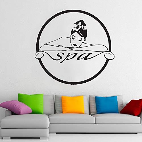 HGFDHG Spa logo pegatinas de pared mujer masaje terapia tratamiento cuidado de la piel salón de belleza decoración interior puertas y ventanas vinilo pegatinas arte murales