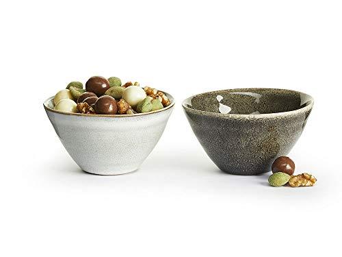 Sagaform 5017890 Nature Collection Stoneware Mini Serving Bowls, Set of 2 Servierschale, Keramik, Hell- und Dunkelgrau