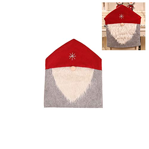JSVDE Christmas Chair Covers Caps Dining Room Chair Protector Slipcovers Set for Christmas Festive Home Desk Chairs Decoration Kitchen Party Decor (red-White)