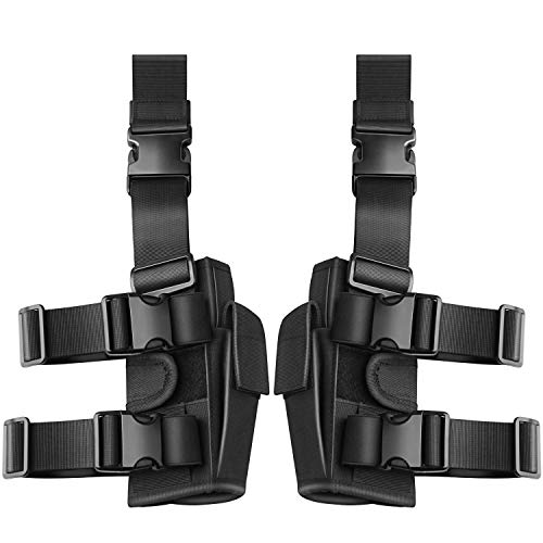 Tactical Pistol Leg Holster, Adjustable Airsoft Gun Drop Thigh Holster, Military Harness Pouch, Left and Right Handed Set, Black