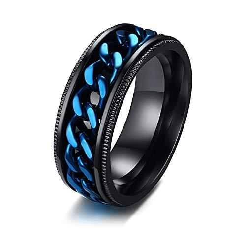 Anillos personalizados con nombre grabado anillo azul con cadena giratoria para hombre, tamaño 7-13, acero Stanless
