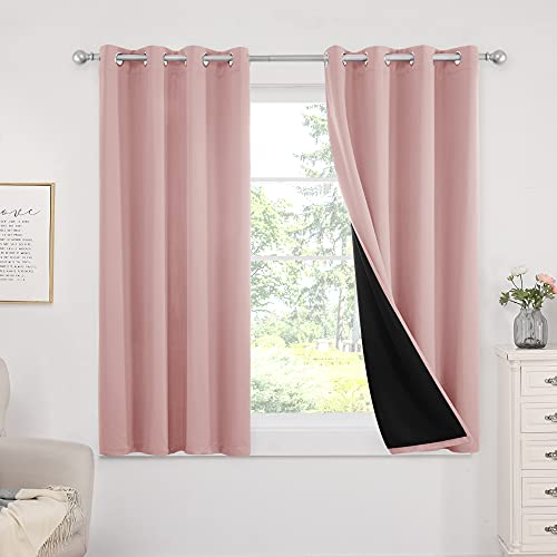 Deconovo 100% Blackout Curtains for Bedroom, Super Soft Pink Curtains, Grommets Thermal Insulated Window Curtains for Kids Room Baby Girl Nursery, 2 Panels, 52x54 in, Coral Pink