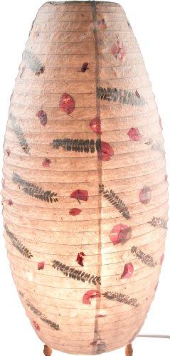 Guru-Shop Corona Reispapier Stehlampe Flower, Lokta-Papier, Höhe: 60 cm, Papierlampenschirme Oval