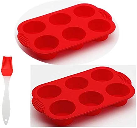 6 Cup Creative binaural Silicone Muffin Pan Pack of 2 Non Stick Muffin Cupcake Molds red product image