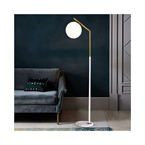 & Daglicht staande lamp, woonkamer, staande lamp, slaapkamer, nachtkastje, verticaal, moderne verlichting, witte glazen bol, lampenkap, staande lamp