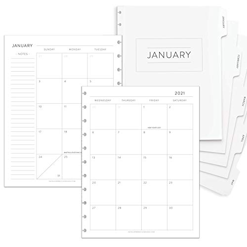 BetterNote 2021 Monthly Calendar with Tabbed Dividers for Disc-Bound Planners, Fits 11-Disc Levenger Circa, Arc by Staples, TUL by Office Depot, Letter Size 8.5'x11' Classic (Notebook Not Included)