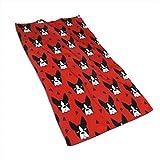 Boston Terrier Dog Red Kitchen Toallas-Paños de Cocina-Trapos de Cocina Lavables a máquina, paños de Cocina y Toallas de té 27.5 * 15.7In